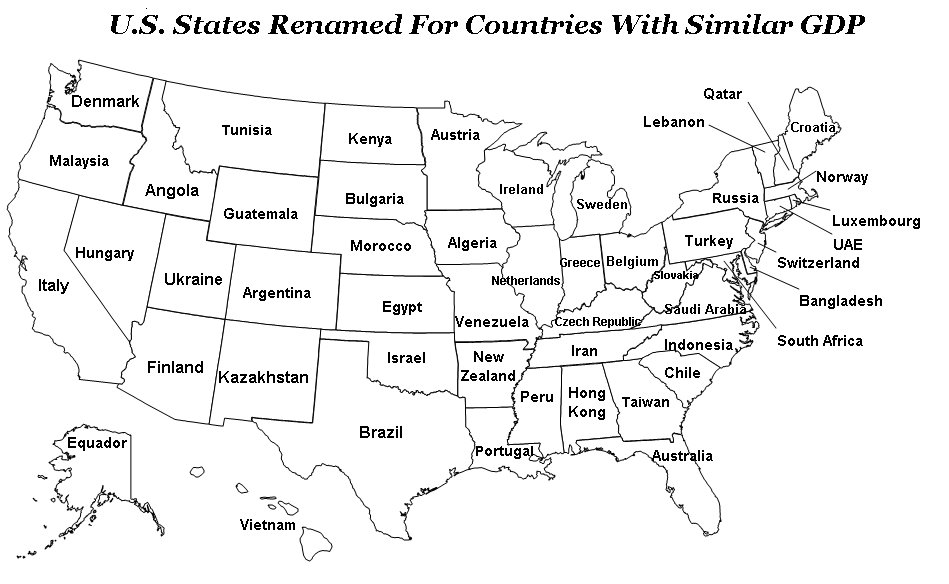 U.S. States Renamed for Countries with Similar GDP
