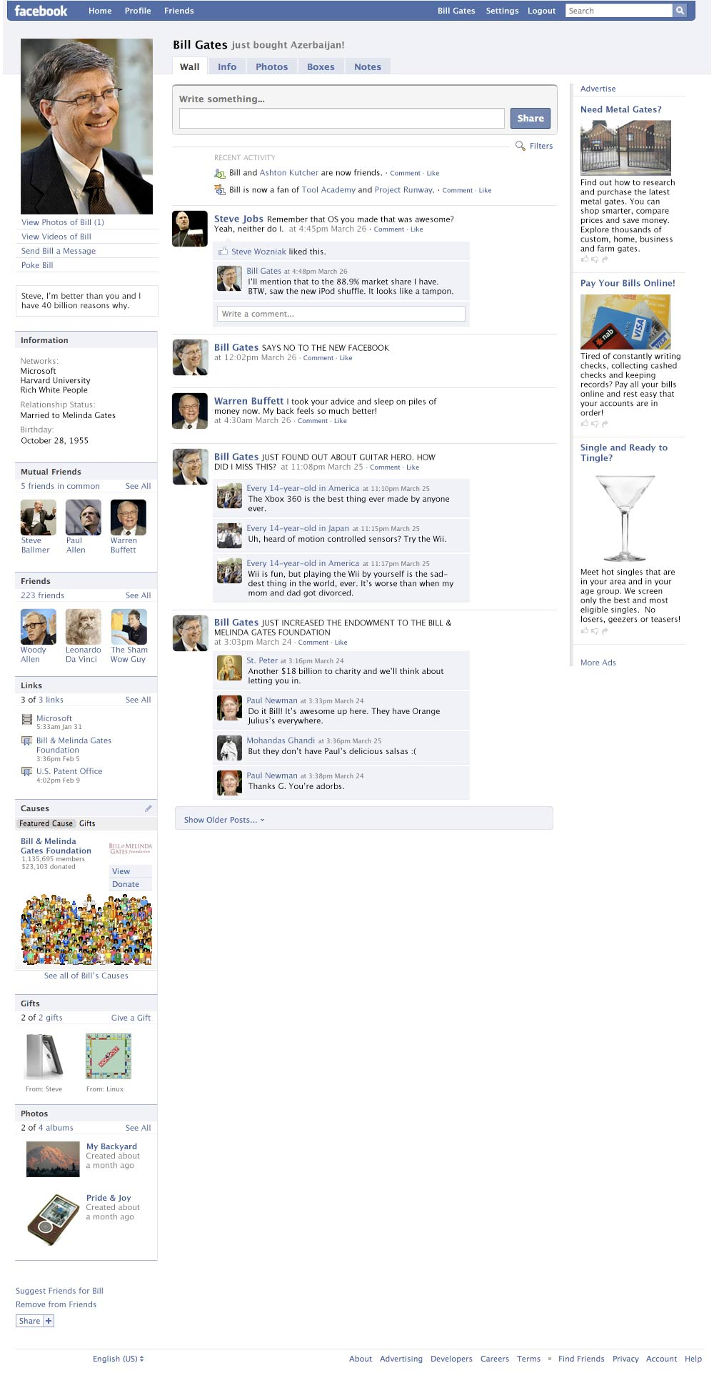 Bill Gates' Facebook Profile