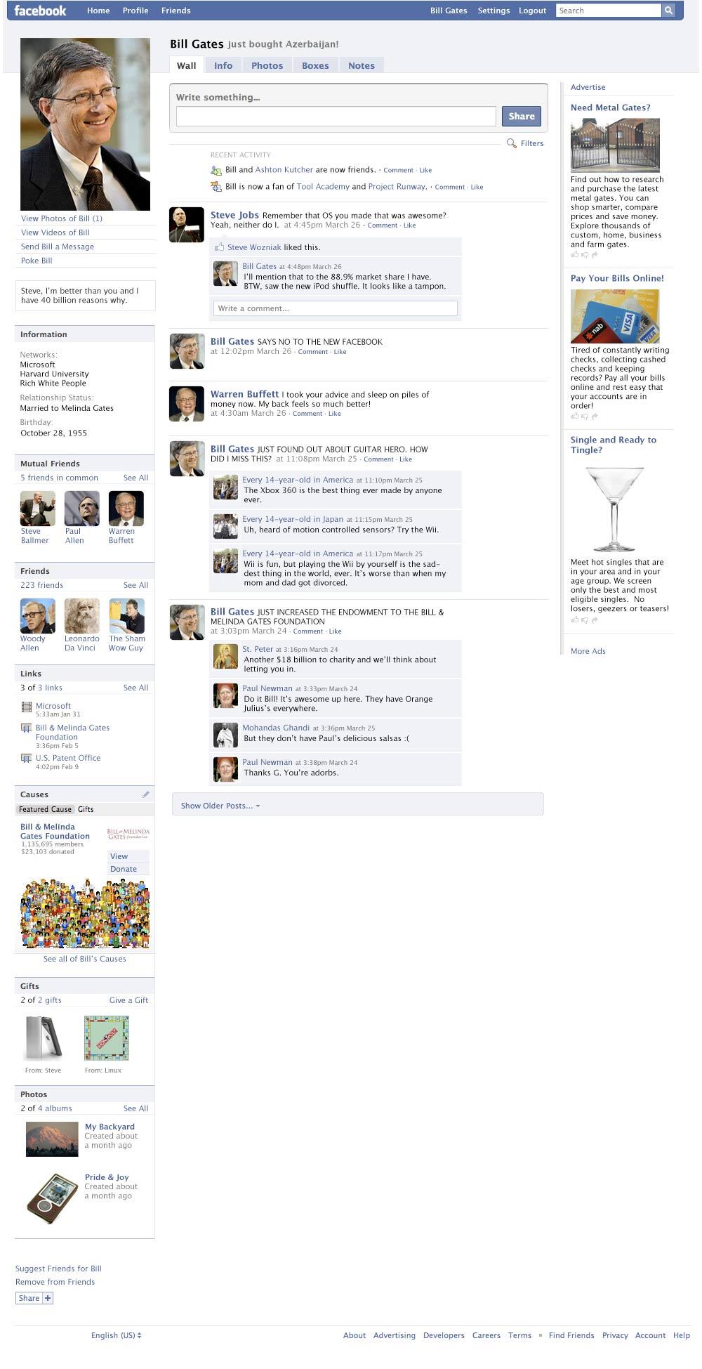 Bill Gates' Facebook Profile